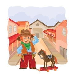Little cowboy with a wooden vector
