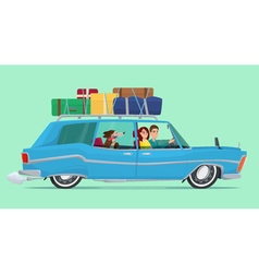 Man and woman travel by car with his dog baggage vector