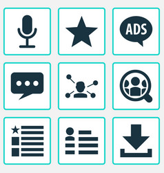 Media icons set with relation questionnaire vector