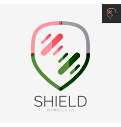 Minimal line design logo shield icon vector image