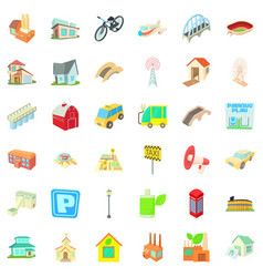 Parking in city icons set cartoon style vector