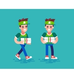 Pizza courier characters in flat design vector image vector image