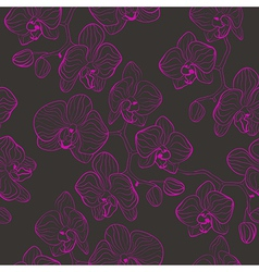 Seamless flower pattern with orchids phalaenopsis vector image vector image