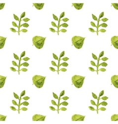 Seamless watercolor pattern with leaves on the vector image vector image