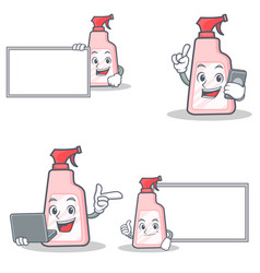Set of cleaner character with board phone laptop vector