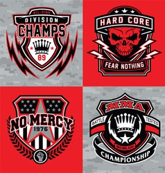 Sports shield emblem graphic set vector image