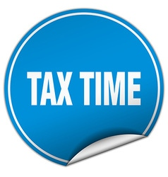 Tax time round blue sticker isolated on white vector