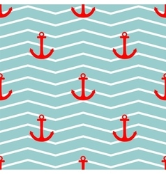Tile sailor pattern with red anchor on zig zag vector