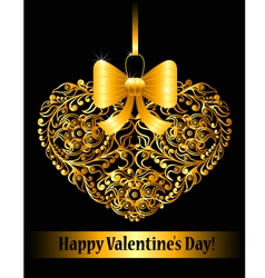 Valentines day card with ornamental heart vector image vector image