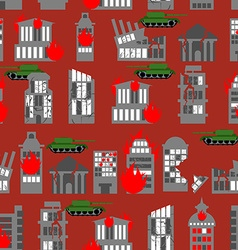 War seamless pattern Ruined city Tanks in town vector image vector image