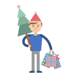 Young man with christmas shopping at hand vector
