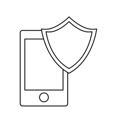 Smartphone shield server banner icon vector