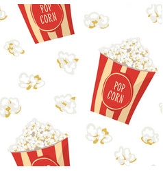 Pop corn in a red stripped pack seamless pattern vector