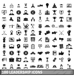 100 leadership icons set in simple style vector