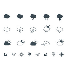 simple flat and outline weather icons logo vector image