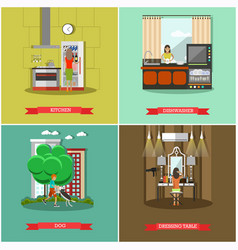 Set of house and kitchen square posters in vector