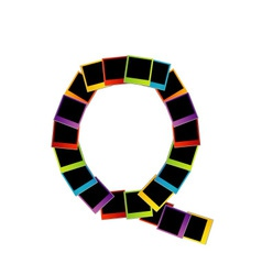 Alphabet q with colorful polaroids vector
