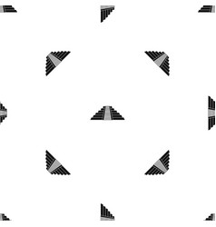 Ziggurat in chichen itza pattern seamless black vector