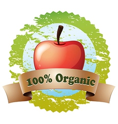A pure organic label with a red apple vector