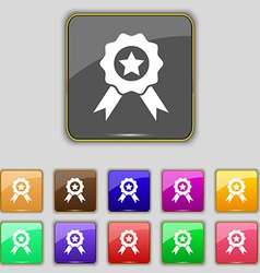 Award medal of honor icon sign set with eleven vector