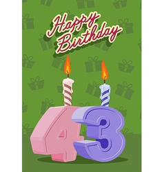 43 year Happy Birthday Card vector image vector image