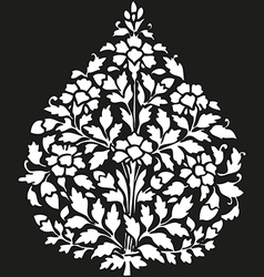 Symmetric blooming plant with flowers and leaf vector