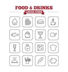 Food and drinks linear icons set thin outline vector