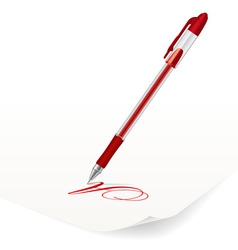 Image of red ballpoint pen writing on paper vector