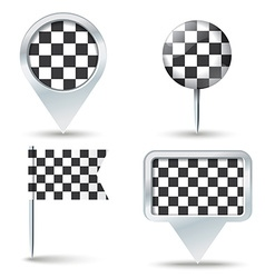 Map pins with checkered race flag vector