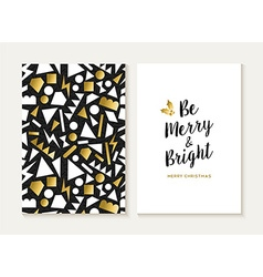 Merry christmas card gold retro 80s pattern vector