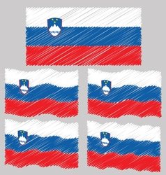 Flat and waving hand draw sketch flag slovenia vector