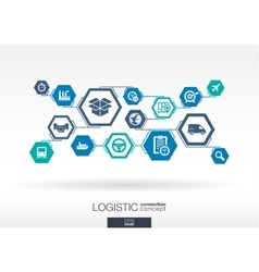 Logistic network hexagon abstract background vector