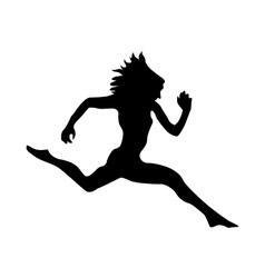 Running silhouette black vector image