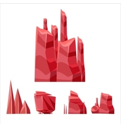 Red rock elements set vector