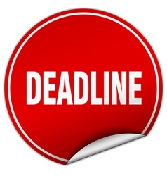 Deadline round red sticker isolated on white vector