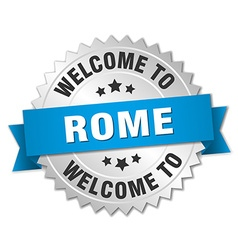 Rome 3d silver badge with blue ribbon vector