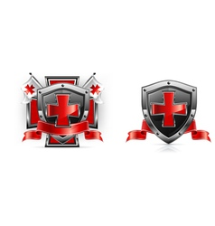 Emblem templar red cross vector