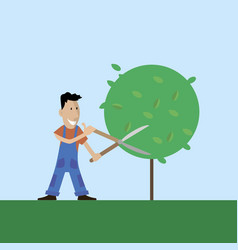 A gardener cuts the tree vector