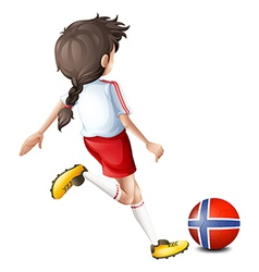 A player using the ball from Norway vector image
