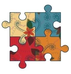 Autism puzzle simbol retro vector
