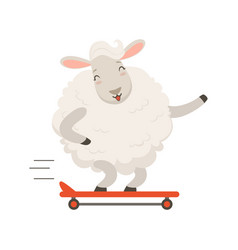 Cute white sheep character riding a skateboard vector