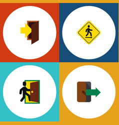 Flat icon emergency set of entry direction vector