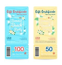 Gift certificate summer beach party blue cream vector