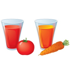Glasses of carrot and tomato juice vector image vector image