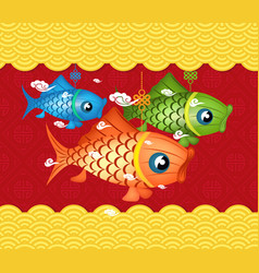 happy mid autumn festival background carp lantern vector image