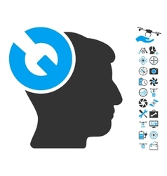 Head surgery wrench icon with copter tools bonus vector