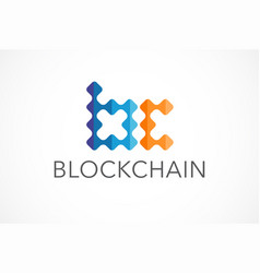 innovative concept logo for blockchain industry vector image vector image