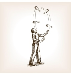 Juggler man sketch style vector