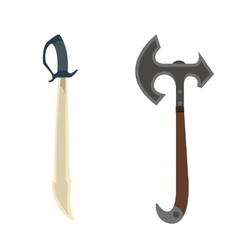 Knife and axe weapon vector image vector image