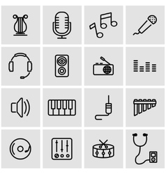 line music icon set vector image vector image
